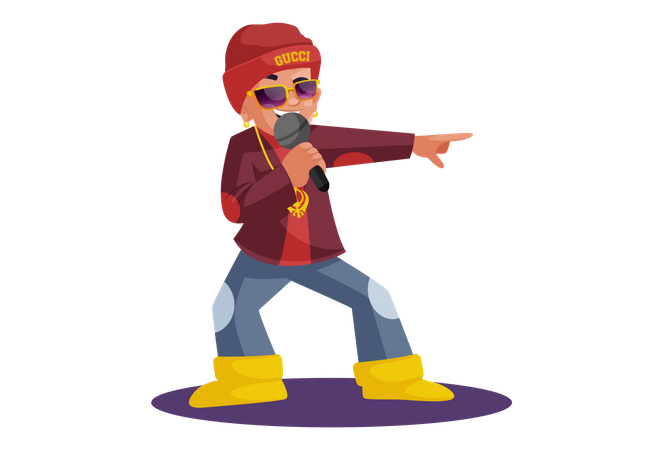 Indian boy singing on mic with style Illustration