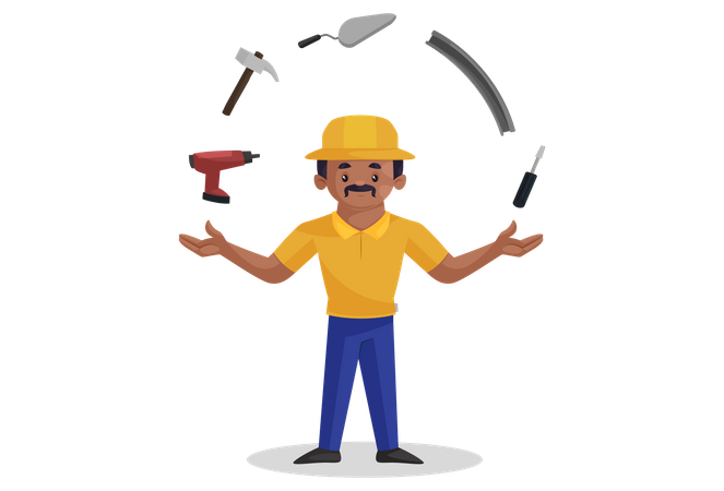 Indian builder showing his construction tools Illustration