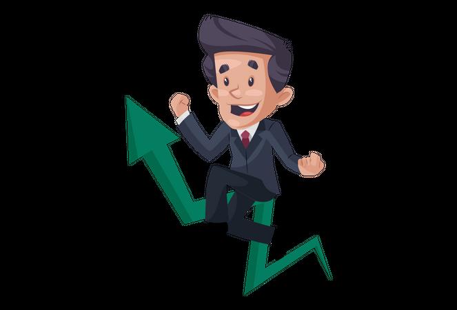 Indian businessman is sitting on a growth arrow Illustration
