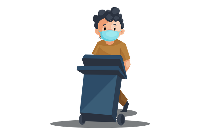 Indian cleaner pushing dustbin Illustration