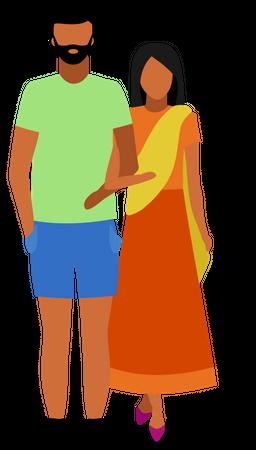 Indian couple Illustration