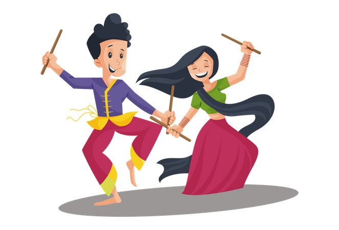 Indian Couple Playing Garba Illustration