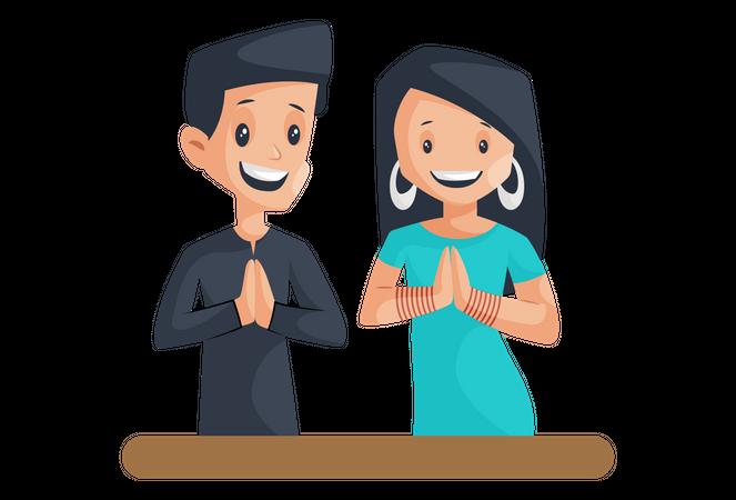 Indian Couple Praying in Navratri Illustration