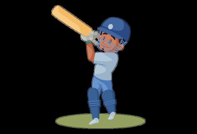 Indian cricket player hitting Six Illustration