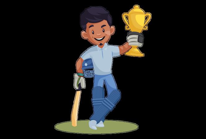 Indian Cricket Player holding Winning Trophy Illustration