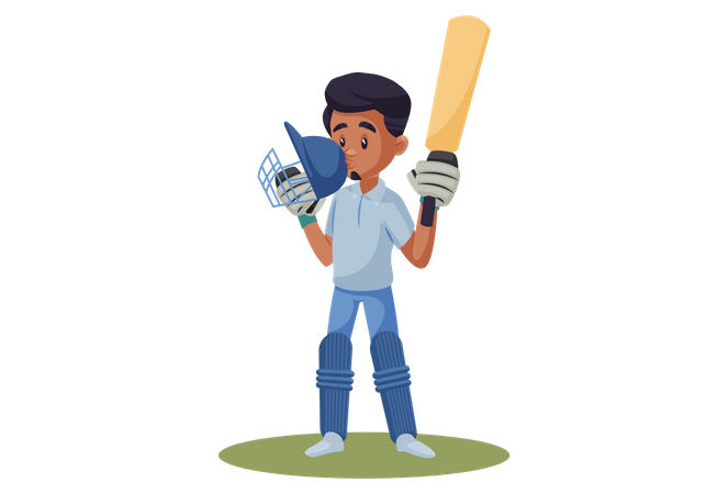 Indian Cricket Player kissing his helmet after completing the century Illustration
