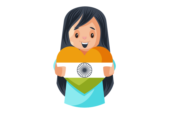 Indian Cute Girl Holding Heart shaped Indian Flag Illustration