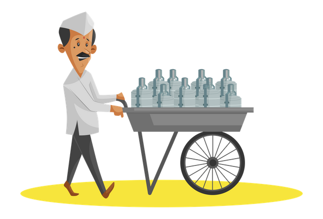 Indian Dabbawala with hand trolley full of food tiffins Illustration