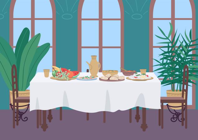 Indian dinner at home Illustration