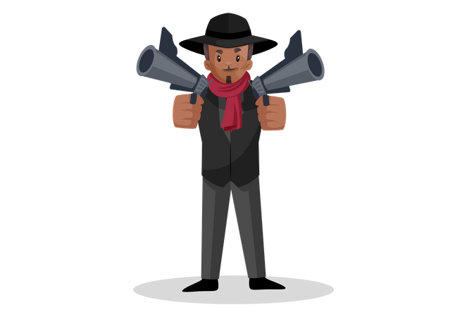 Indian dong holding guns in his hand Illustration