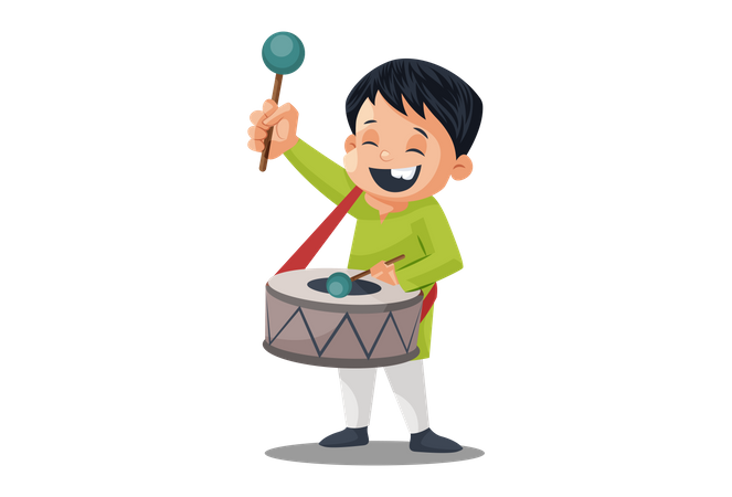 Indian Drummer boy drumming on Independence Day Illustration