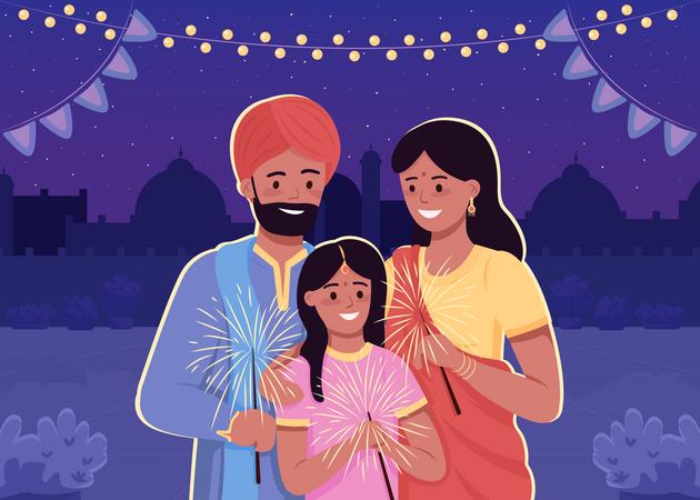 Indian family celebrating Diwali Illustration