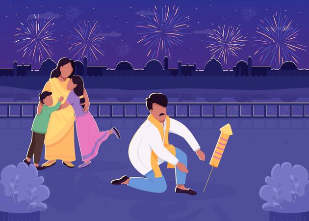 Indian family celebrating Diwali and bursting rocket Illustration
