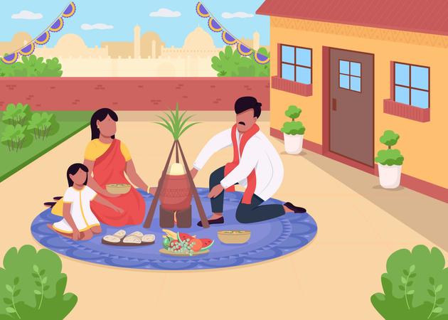 Indian family celebrating festival Illustration