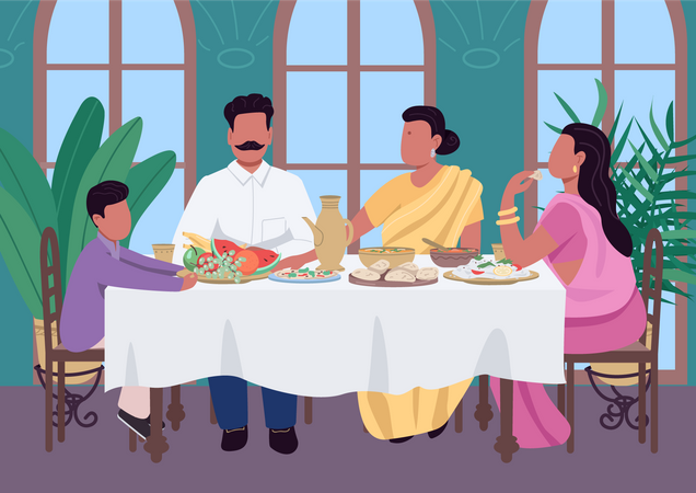 Indian family meal Illustration