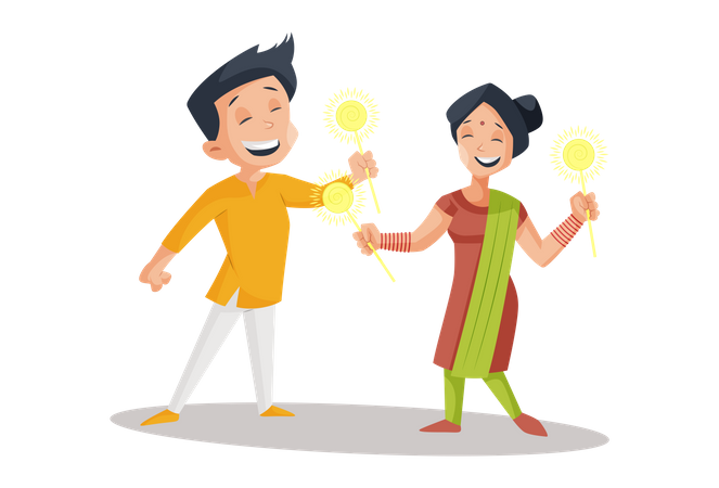 Indian family playing with sparkle stick Illustration
