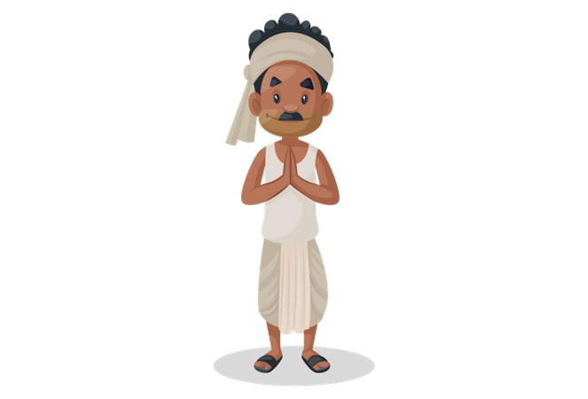 Indian farmer doing welcoming gesture Illustration