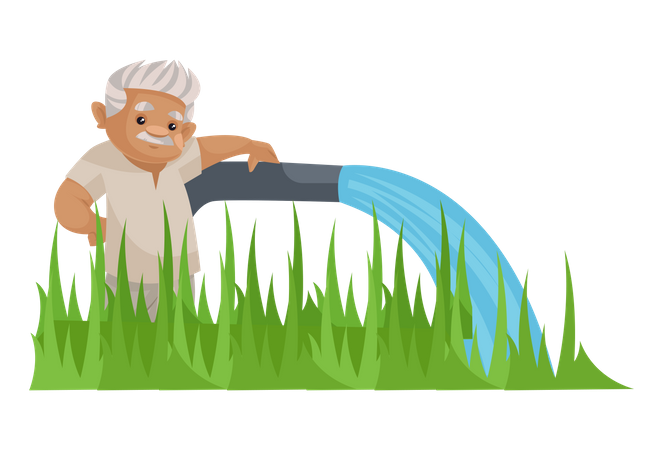 Indian farmer pouring water to crop Illustration