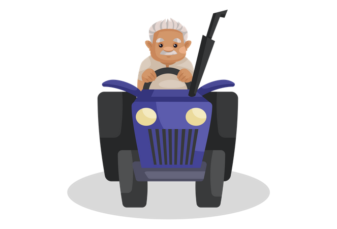 Indian farmer riding tractor Illustration