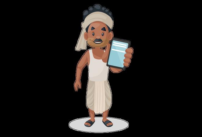 Indian farmer showing mobile Illustration