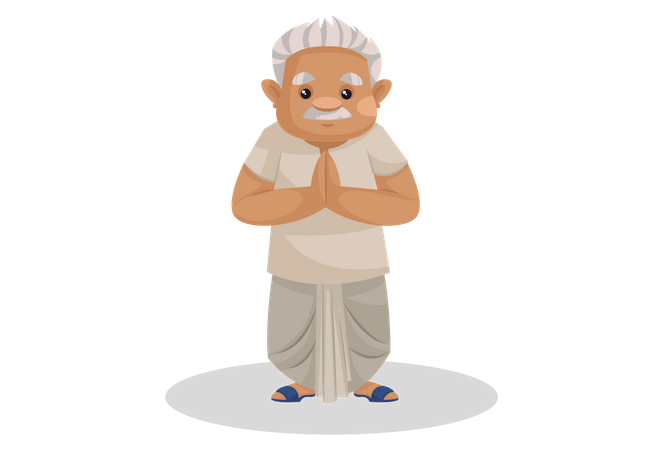 Indian farmer standing in welcome pose Illustration