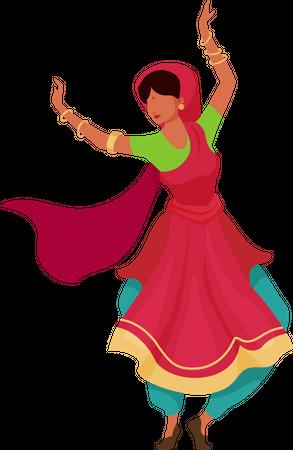 Indian female dancer Illustration