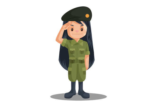 Indian Female Soldier Saluting on Independence Day Illustration