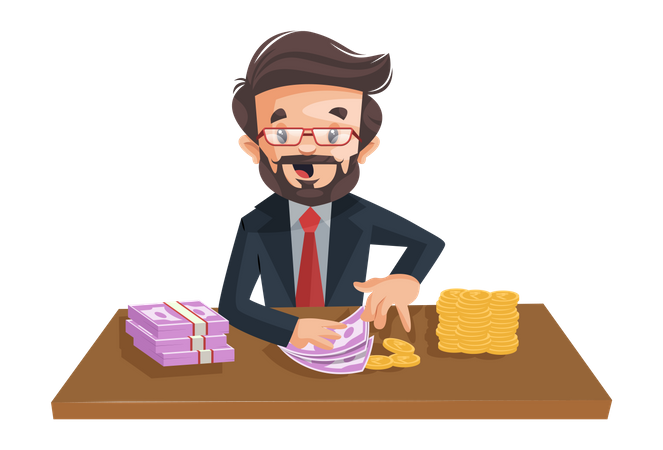 Indian financial advisor is sitting and counting money on the desk Illustration