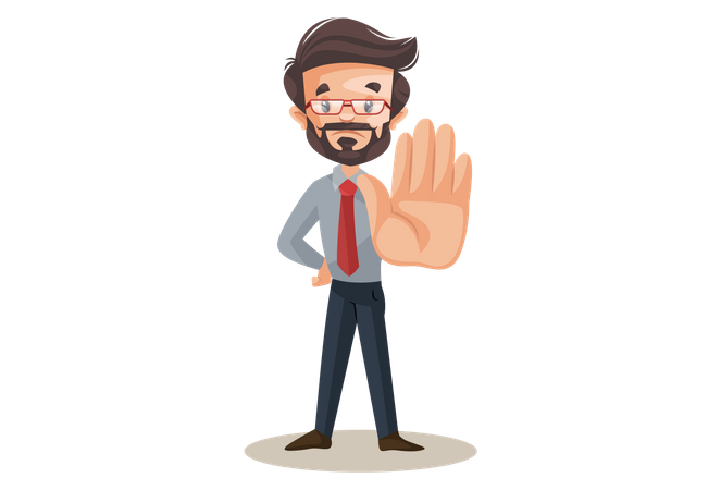 Indian financial advisor with a stop hand sign Illustration
