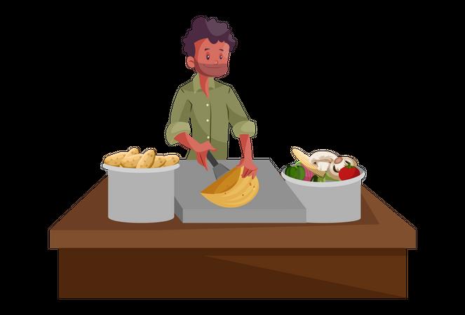 Indian Food Vendor Illustration