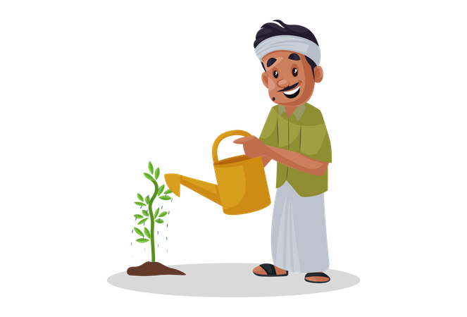 Indian gardener pouring water to plant Illustration