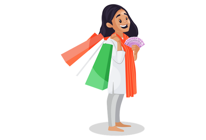 Indian girl holding shopping bags and rupees in her hands Illustration