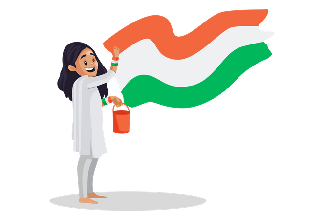 Indian girl is holding a color bucket and painting the Indian flag on a wall Illustration