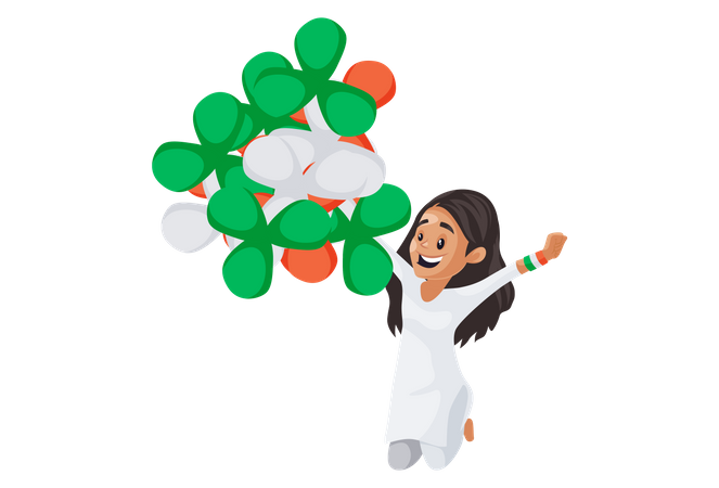 Indian girl is jumping and holding balloons in her hands Illustration