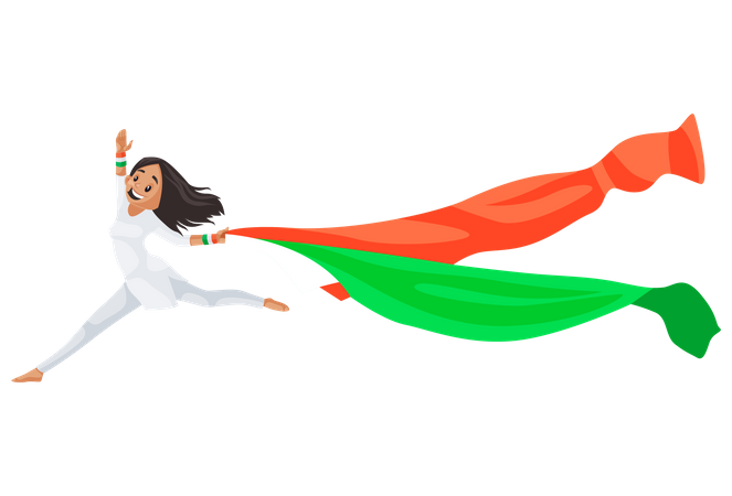Indian girl is jumping with their scarf Illustration