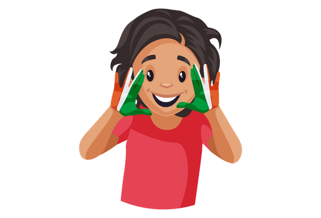 Indian girl is smiling and showing colored hands Illustration