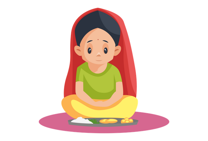 Indian Girl seating with dinner dish and praying Illustration