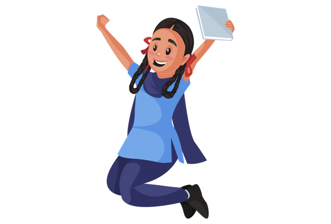 Indian girl student jumping Illustration