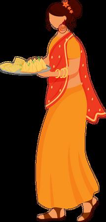 Indian girl wearing sari Illustration
