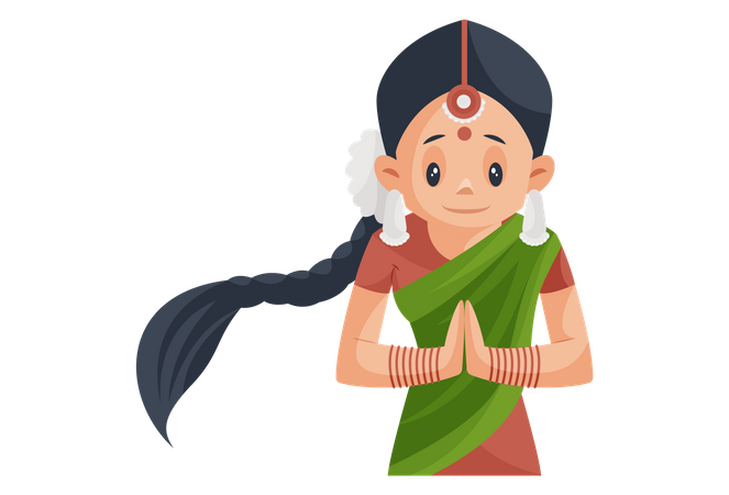 Indian Girl wearing Traditional clothes doing Namaste Illustration