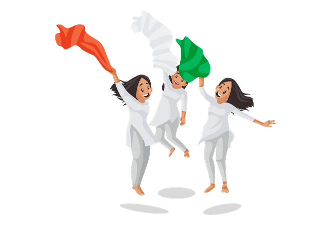 Indian girls are jumping and waving scarf Illustration