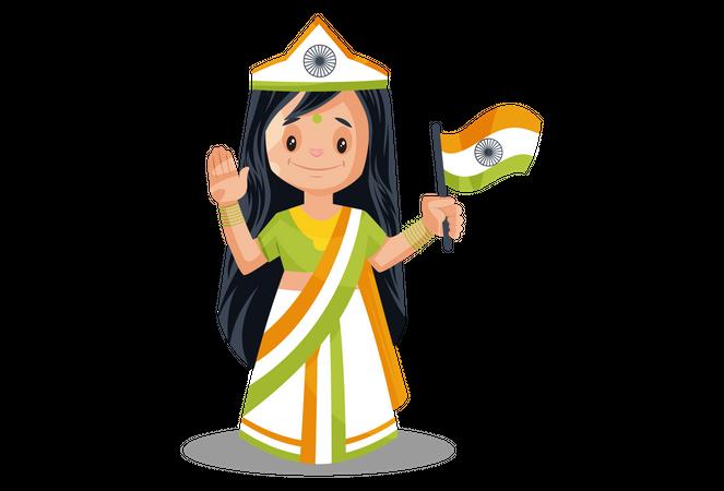 Indian goddess with Indian Flag Illustration