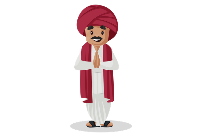 Indian gujarati man standing in welcome pose Illustration