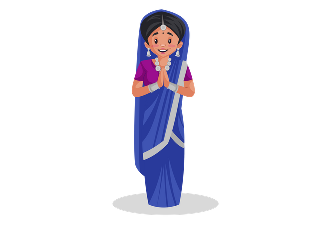 Indian gujarati woman standing in welcome pose Illustration