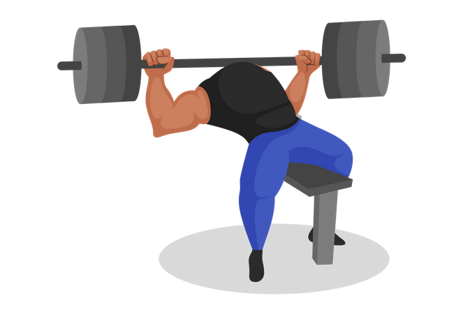 Indian gym trainer lifting weights Illustration