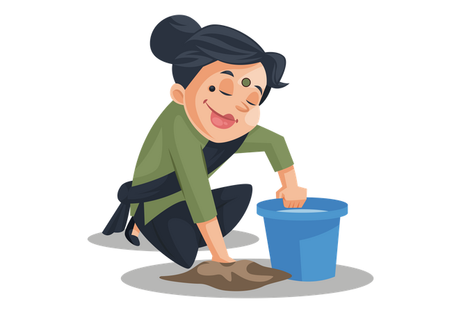 Indian house maid cleaning the floor Illustration