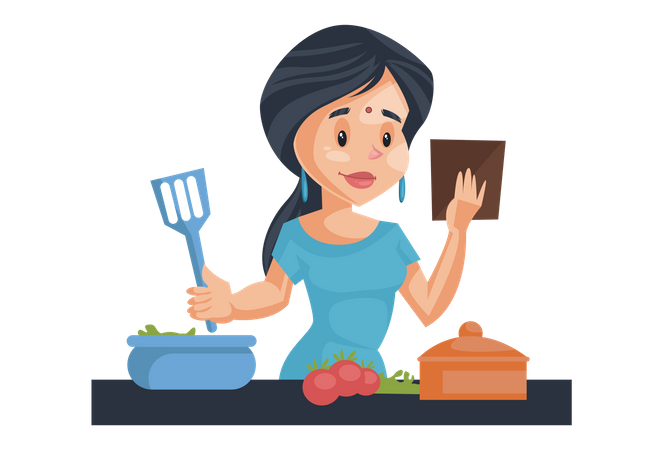 Indian House Wife cooking in kitchen Illustration