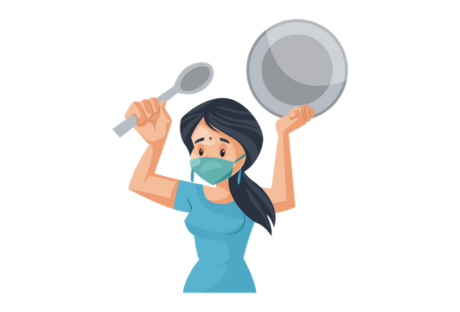 Indian House Wife making noise with spoon and dish for positive vibes in covid-19 situation Illustration