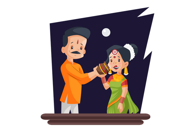 Indian husband breaking fast of his wife Illustration