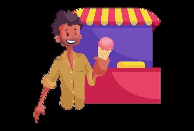 Indian Ice-cream Vendor Illustration